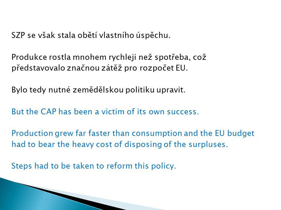 SZP se však stala obětí vlastního úspěchu. Produkce rostla mnohem rychleji než spotřeba, což představovalo značnou zátěž pro rozpočet EU. Bylo tedy nu