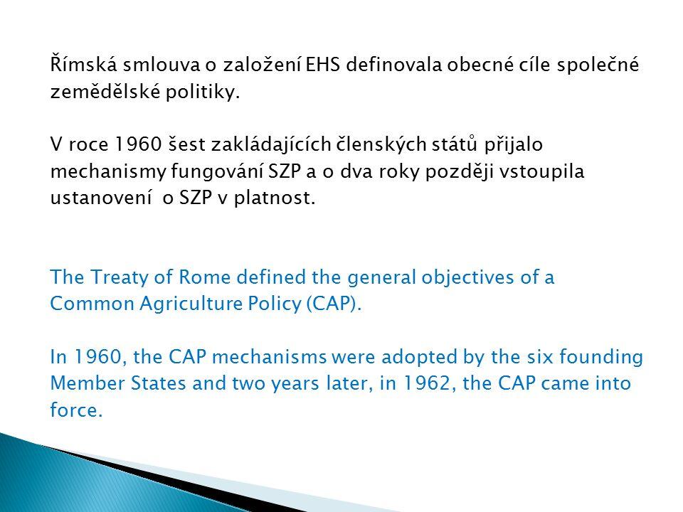 Římská smlouva o založení EHS definovala obecné cíle společné zemědělské politiky. V roce 1960 šest zakládajících členských států přijalo mechanismy f