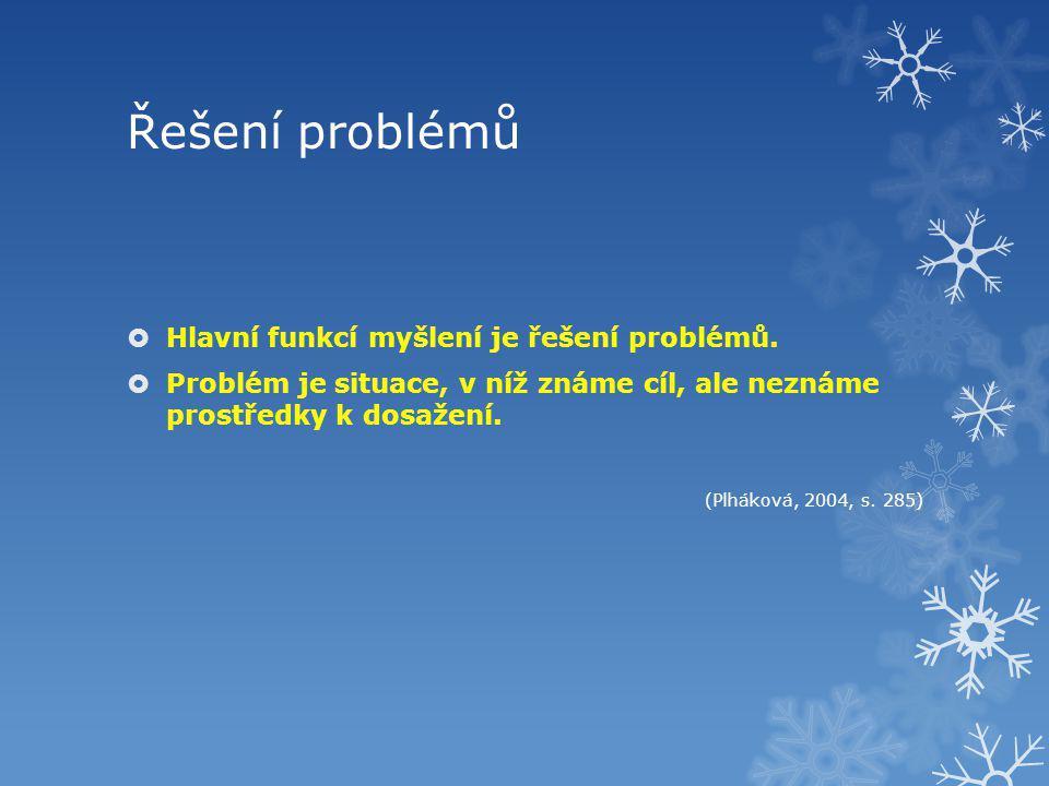 Řešení problémů  Hlavní funkcí myšlení je řešení problémů.