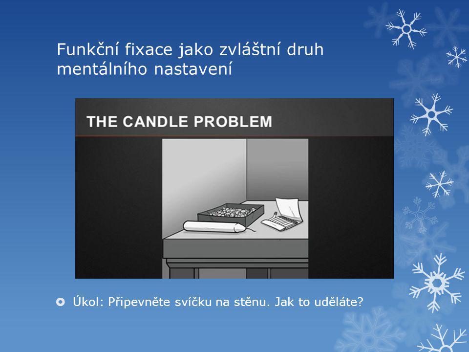 Funkční fixace jako zvláštní druh mentálního nastavení  Úkol: Připevněte svíčku na stěnu.
