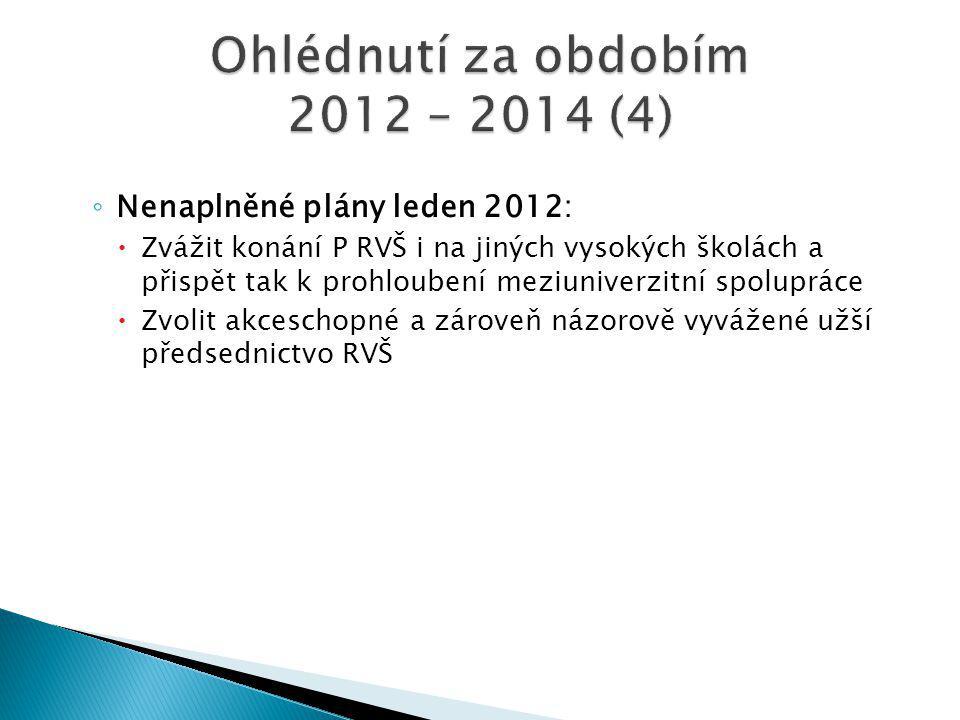 ◦ Nenaplněné plány leden 2012:  Zvážit konání P RVŠ i na jiných vysokých školách a přispět tak k prohloubení meziuniverzitní spolupráce  Zvolit akceschopné a zároveň názorově vyvážené užší předsednictvo RVŠ