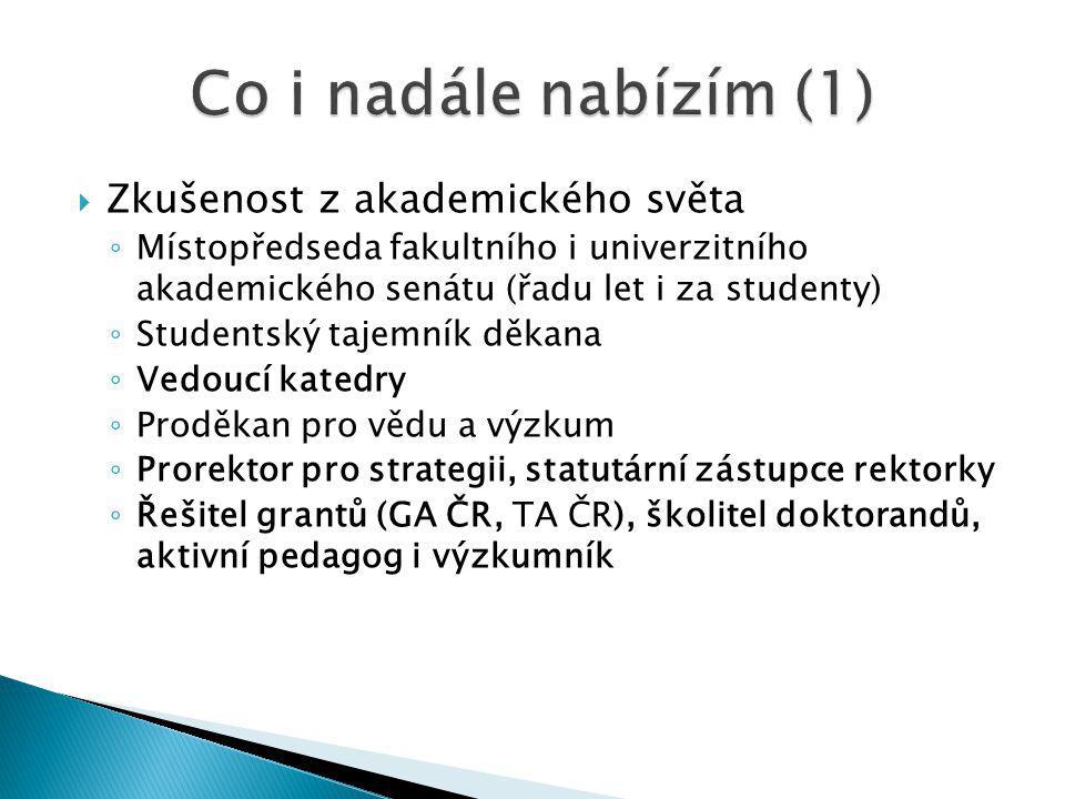  Zkušenost s prací v RVŠ ◦ Aktivní člen vědecké komise (2006 – 2008) ◦ Předseda ekonomické komise (2009 – 2011) ◦ Předseda RVŠ (2012 – 2014)  Schopnost komunikace, nutnou pro hledání konsensuálních řešení v rámci RVŠ i mimo ni  Schopnost efektivně řídit jednání  Náročnou práci pro RVŠ i v příštích třech letech (což ovšem též očekávám od vás)