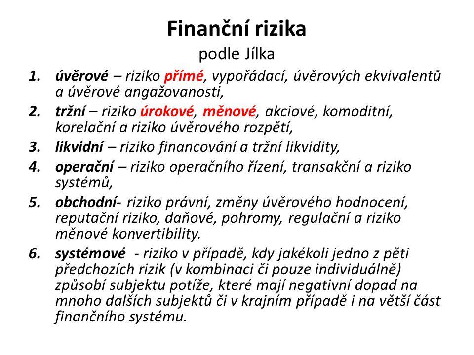 Finanční rizika podle Jílka 1.úvěrové – riziko přímé, vypořádací, úvěrových ekvivalentů a úvěrové angažovanosti, 2.tržní – riziko úrokové, měnové, akc