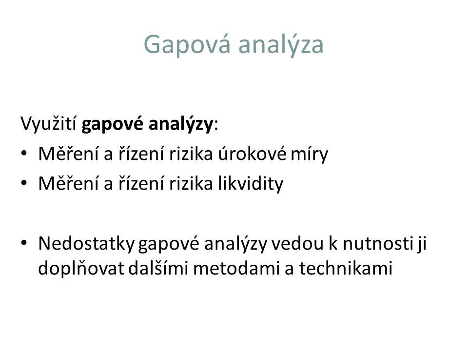 Gapová analýza Využití gapové analýzy: Měření a řízení rizika úrokové míry Měření a řízení rizika likvidity Nedostatky gapové analýzy vedou k nutnosti