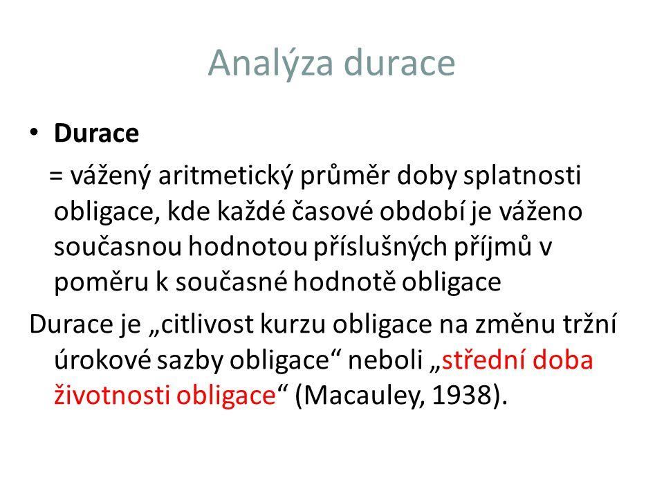 Analýza durace Durace = vážený aritmetický průměr doby splatnosti obligace, kde každé časové období je váženo současnou hodnotou příslušných příjmů v