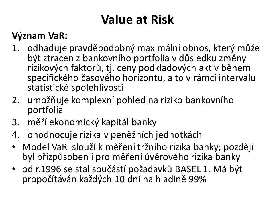 Value at Risk Význam VaR: 1.odhaduje pravděpodobný maximální obnos, který může být ztracen z bankovního portfolia v důsledku změny rizikových faktorů,