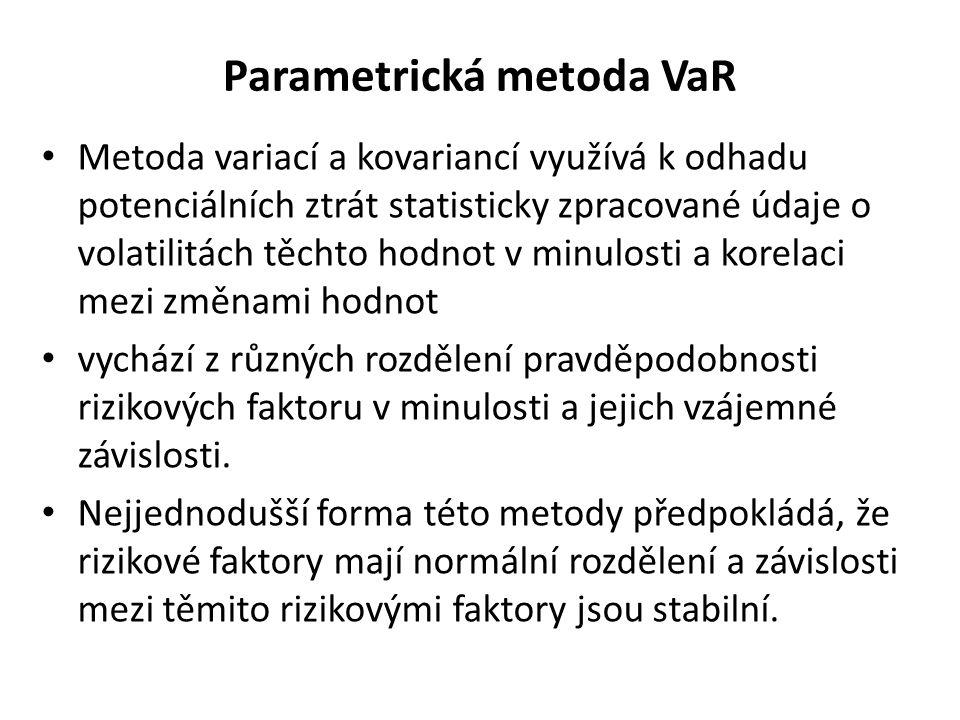 Parametrická metoda VaR Metoda variací a kovariancí využívá k odhadu potenciálních ztrát statisticky zpracované údaje o volatilitách těchto hodnot v m