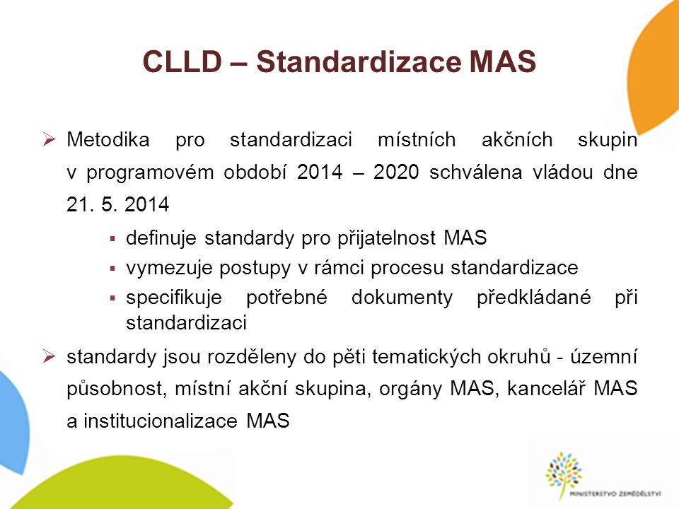 CLLD – Standardizace MAS  Metodika pro standardizaci místních akčních skupin v programovém období 2014 – 2020 schválena vládou dne 21.