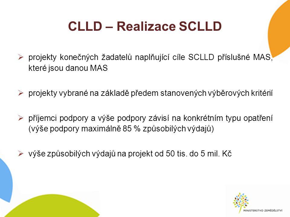 CLLD – Realizace SCLLD  projekty konečných žadatelů naplňující cíle SCLLD příslušné MAS, které jsou danou MAS  projekty vybrané na základě předem stanovených výběrových kritérií  příjemci podpory a výše podpory závisí na konkrétním typu opatření (výše podpory maximálně 85 % způsobilých výdajů)  výše způsobilých výdajů na projekt od 50 tis.