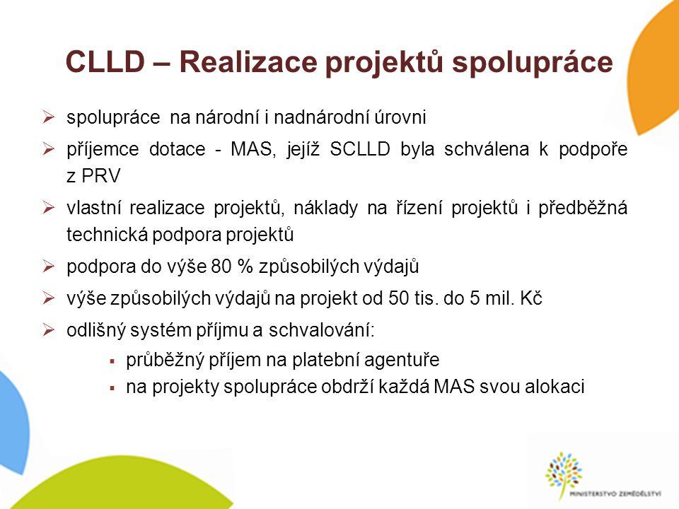 CLLD – Realizace projektů spolupráce  spolupráce na národní i nadnárodní úrovni  příjemce dotace - MAS, jejíž SCLLD byla schválena k podpoře z PRV  vlastní realizace projektů, náklady na řízení projektů i předběžná technická podpora projektů  podpora do výše 80 % způsobilých výdajů  výše způsobilých výdajů na projekt od 50 tis.