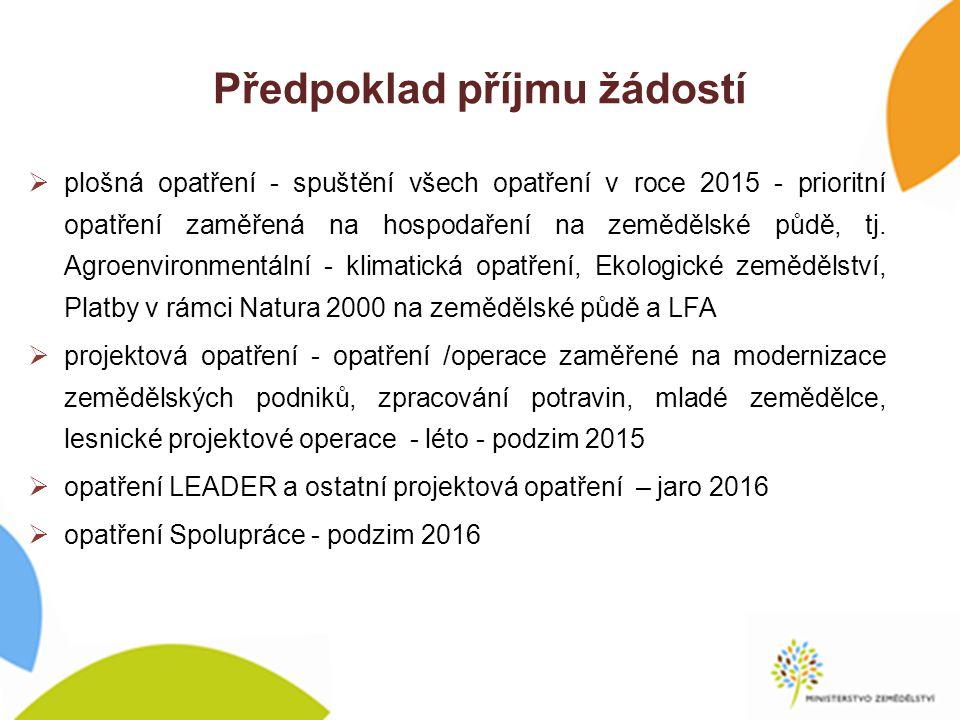 Předpoklad příjmu žádostí  plošná opatření - spuštění všech opatření v roce 2015 - prioritní opatření zaměřená na hospodaření na zemědělské půdě, tj.