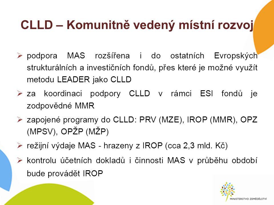CLLD – Komunitně vedený místní rozvoj  podpora MAS rozšířena i do ostatních Evropských strukturálních a investičních fondů, přes které je možné využít metodu LEADER jako CLLD  za koordinaci podpory CLLD v rámci ESI fondů je zodpovědné MMR  zapojené programy do CLLD: PRV (MZE), IROP (MMR), OPZ (MPSV), OPŽP (MŽP)  režijní výdaje MAS - hrazeny z IROP (cca 2,3 mld.