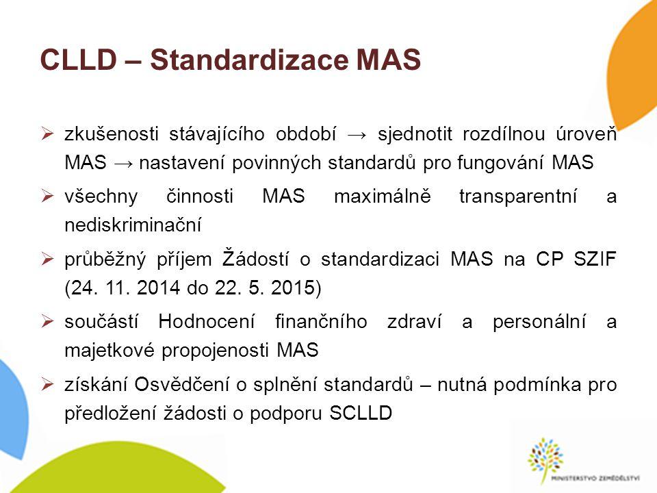 CLLD – Standardizace MAS  zkušenosti stávajícího období → sjednotit rozdílnou úroveň MAS → nastavení povinných standardů pro fungování MAS  všechny činnosti MAS maximálně transparentní a nediskriminační  průběžný příjem Žádostí o standardizaci MAS na CP SZIF (24.