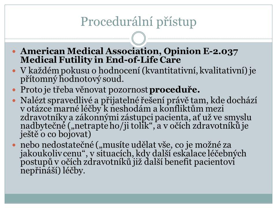 Procedurální přístup American Medical Association, Opinion E-2.037 Medical Futility in End-of-Life Care V každém pokusu o hodnocení (kvantitativní, kv