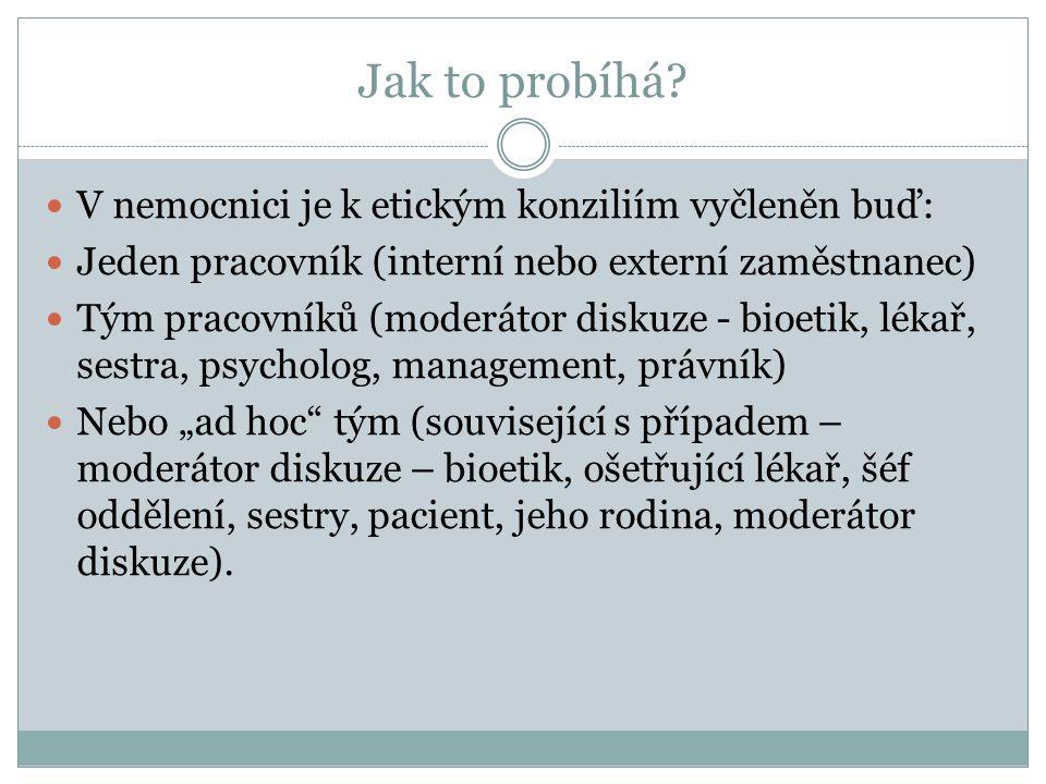 V nemocnici je k etickým konziliím vyčleněn buď: Jeden pracovník (interní nebo externí zaměstnanec) Tým pracovníků (moderátor diskuze - bioetik, lékař