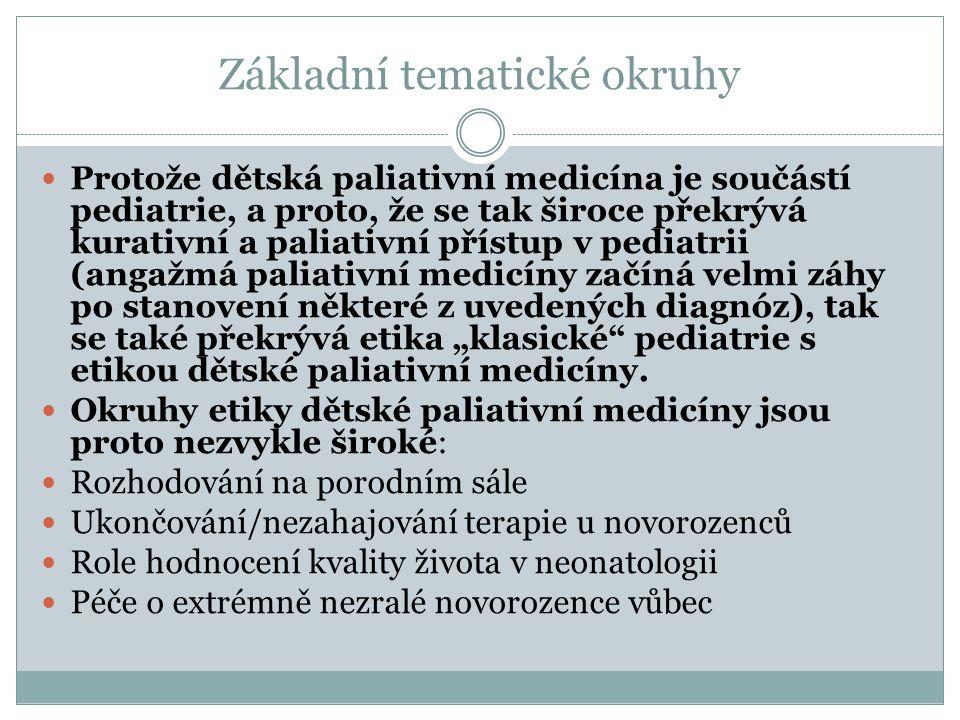 Základní tematické okruhy Protože dětská paliativní medicína je součástí pediatrie, a proto, že se tak široce překrývá kurativní a paliativní přístup