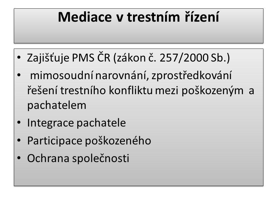 Mediace v trestním řízení Zajišťuje PMS ČR (zákon č. 257/2000 Sb.) mimosoudní narovnání, zprostředkování řešení trestního konfliktu mezi poškozeným a