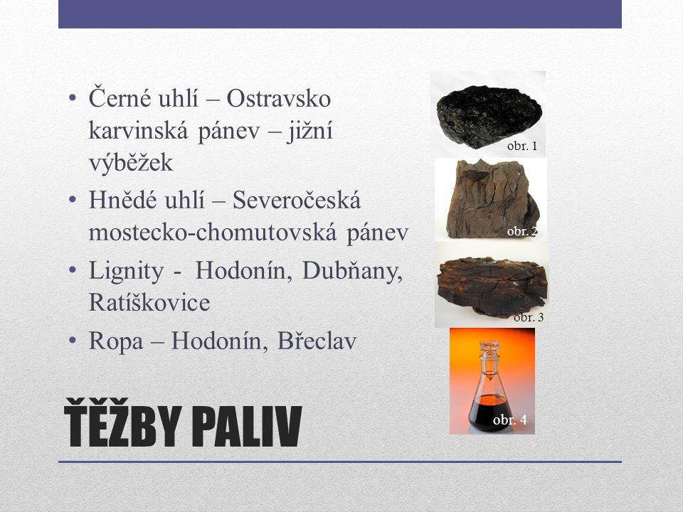ŤĚŽBY PALIV Černé uhlí – Ostravsko karvinská pánev – jižní výběžek Hnědé uhlí – Severočeská mostecko-chomutovská pánev Lignity - Hodonín, Dubňany, Rat