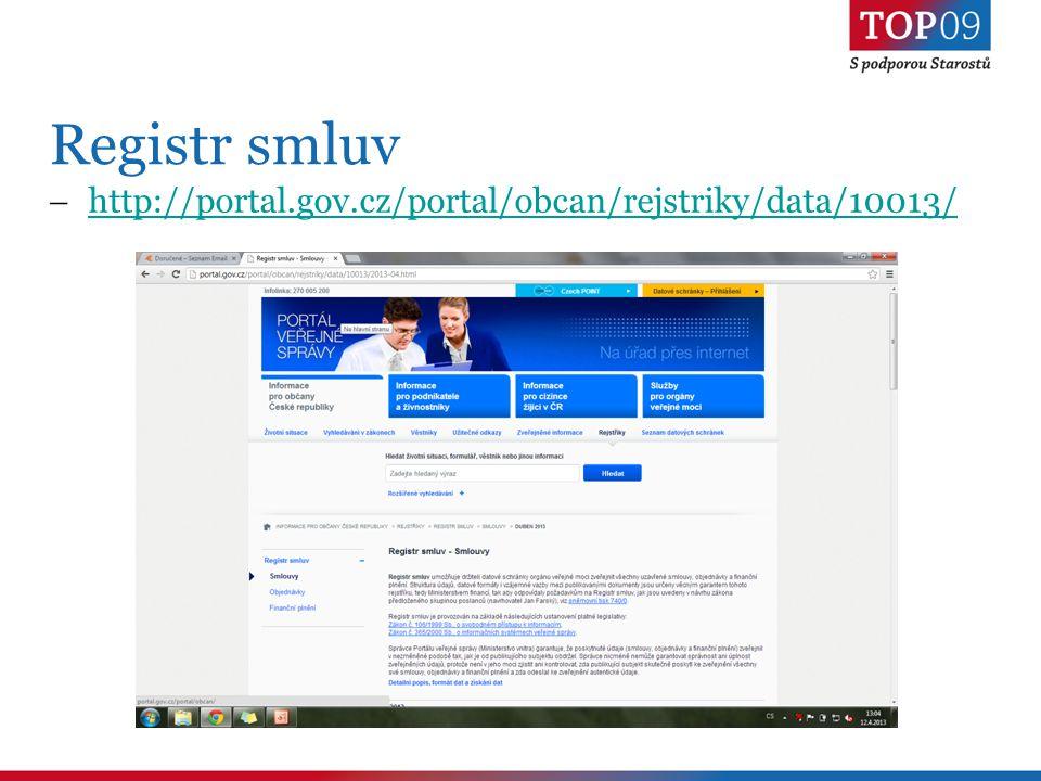 Registr smluv  http://portal.gov.cz/portal/obcan/rejstriky/data/10013/ http://portal.gov.cz/portal/obcan/rejstriky/data/10013/