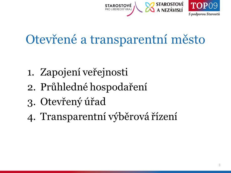 3 Otevřené a transparentní město 1.Zapojení veřejnosti 2.Průhledné hospodaření 3.Otevřený úřad 4.Transparentní výběrová řízení