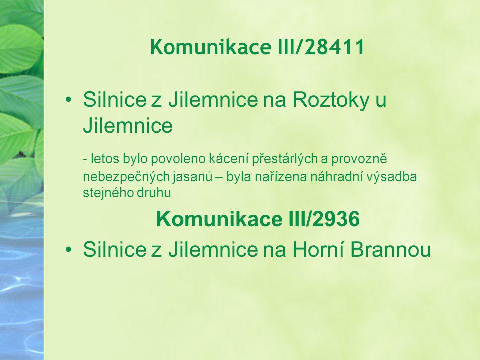 Komunikace III/28411 Silnice z Jilemnice na Roztoky u Jilemnice - letos bylo povoleno kácení přestárlých a provozně nebezpečných jasanů – byla nařízen