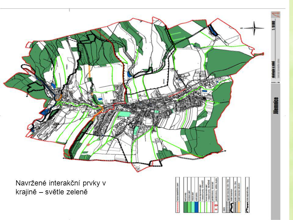 Navržené interakční prvky v krajině – světle zeleně