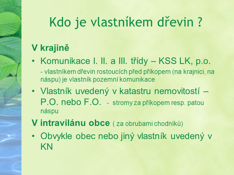 Kdo je vlastníkem dřevin ? V krajině Komunikace I. II. a III. třídy – KSS LK, p.o. - vlastníkem dřevin rostoucích před příkopem (na krajnici, na náspu