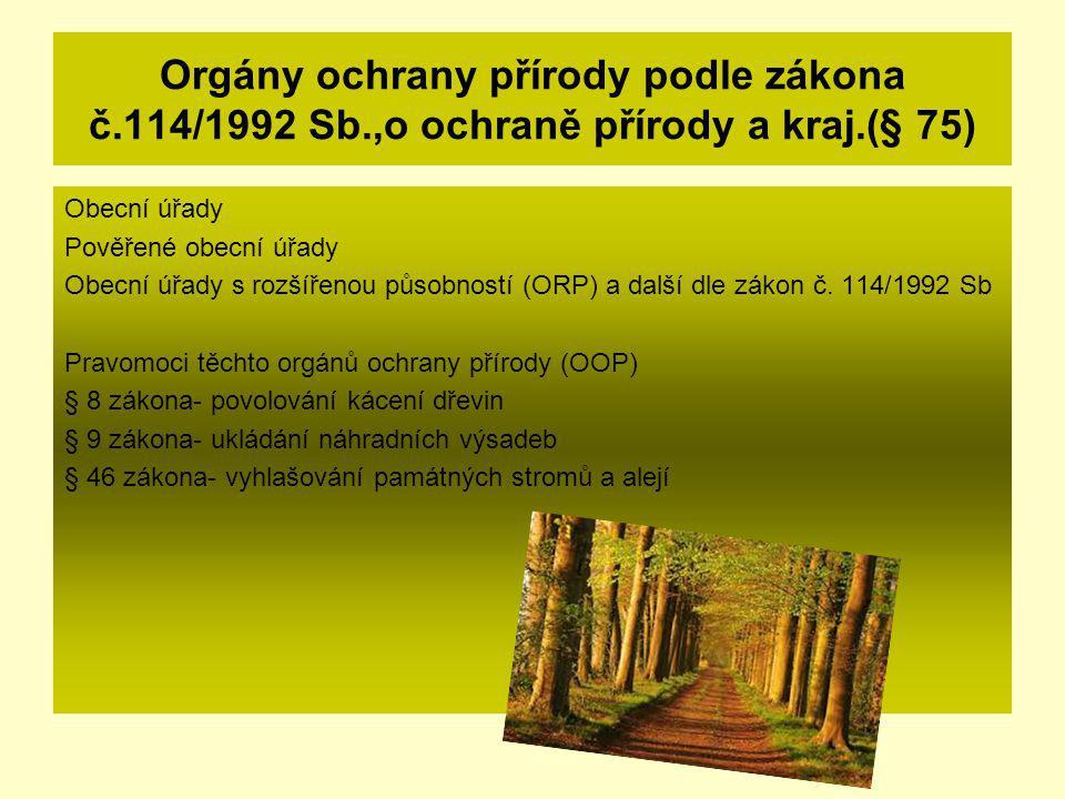 Orgány ochrany přírody podle zákona č.114/1992 Sb.,o ochraně přírody a kraj.(§ 75) Obecní úřady Pověřené obecní úřady Obecní úřady s rozšířenou působn