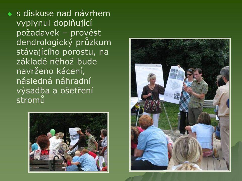   s diskuse nad návrhem vyplynul doplňující požadavek – provést dendrologický průzkum stávajícího porostu, na základě něhož bude navrženo kácení, následná náhradní výsadba a ošetření stromů
