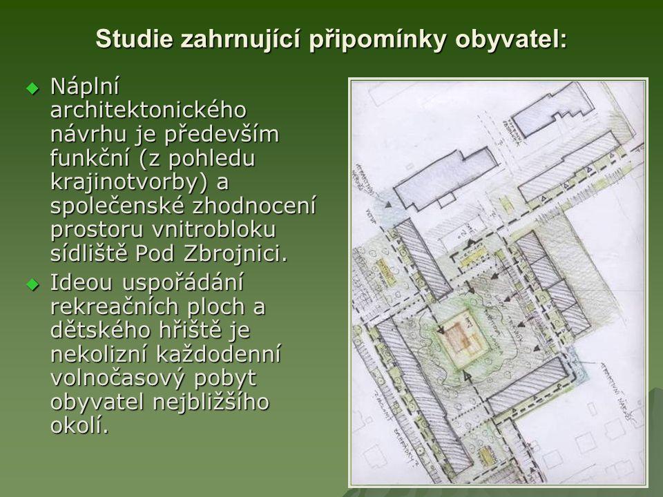 Studie zahrnující připomínky obyvatel:  Náplní architektonického návrhu je především funkční (z pohledu krajinotvorby) a společenské zhodnocení prostoru vnitrobloku sídliště Pod Zbrojnici.
