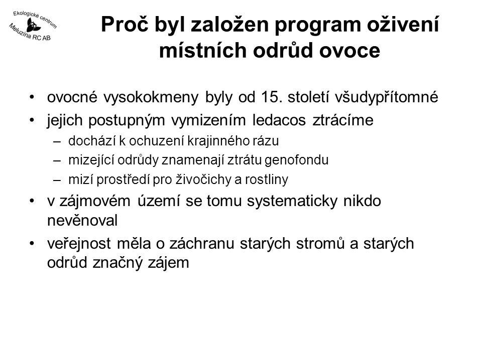 Období 2001 - 2005 genofondová plocha Loket –jabloně Slavkovského lesa –součást městského parku –zpracovány též informační tabule Pozemkový spolek Meluzína