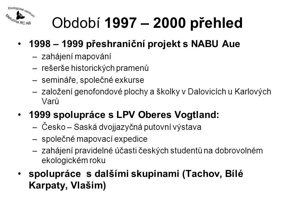 Období 1997 - 2000 seminář ve VŠÚO Holovousy 1997 - na zkušené vůbec první akce programu: Ovocnářství v ekologickém zemědělství –kontakty pro právě otevíraný program