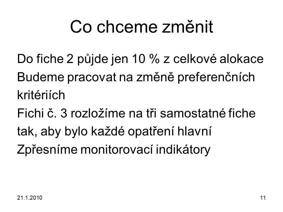 21.1.201011 Co chceme změnit Do fiche 2 půjde jen 10 % z celkové alokace Budeme pracovat na změně preferenčních kritériích Fichi č. 3 rozložíme na tři
