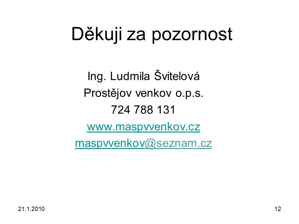21.1.201012 Děkuji za pozornost Ing. Ludmila Švitelová Prostějov venkov o.p.s. 724 788 131 www.maspvvenkov.cz maspvvenkovmaspvvenkov@seznam.cz