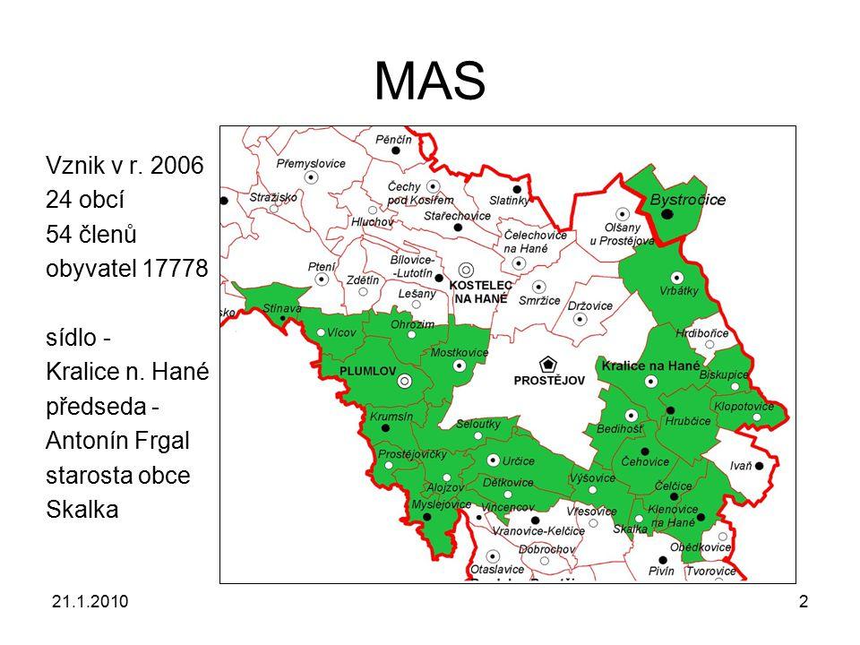 21.1.20102 MAS Vznik v r. 2006 24 obcí 54 členů obyvatel 17778 sídlo - Kralice n. Hané předseda - Antonín Frgal starosta obce Skalka