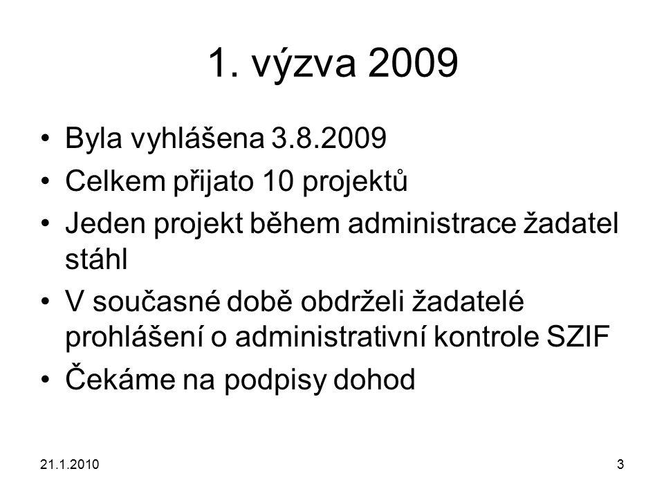 21.1.20103 1. výzva 2009 Byla vyhlášena 3.8.2009 Celkem přijato 10 projektů Jeden projekt během administrace žadatel stáhl V současné době obdrželi ža