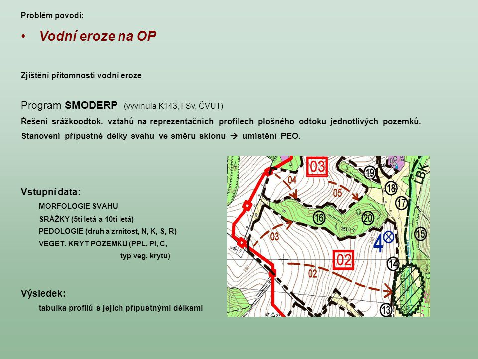 Vodní eroze na OP Zjištění přítomnosti vodní eroze Program SMODERP (vyvinula K143, FSv, ČVUT) Řešení srážkoodtok. vztahů na reprezentačních profilech