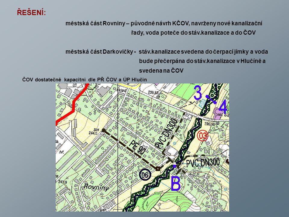 ŘEŠENÍ: městská část Rovniny – původně návrh KČOV, navrženy nové kanalizační řady, voda poteče do stáv.kanalizace a do ČOV městská část Darkovičky - s