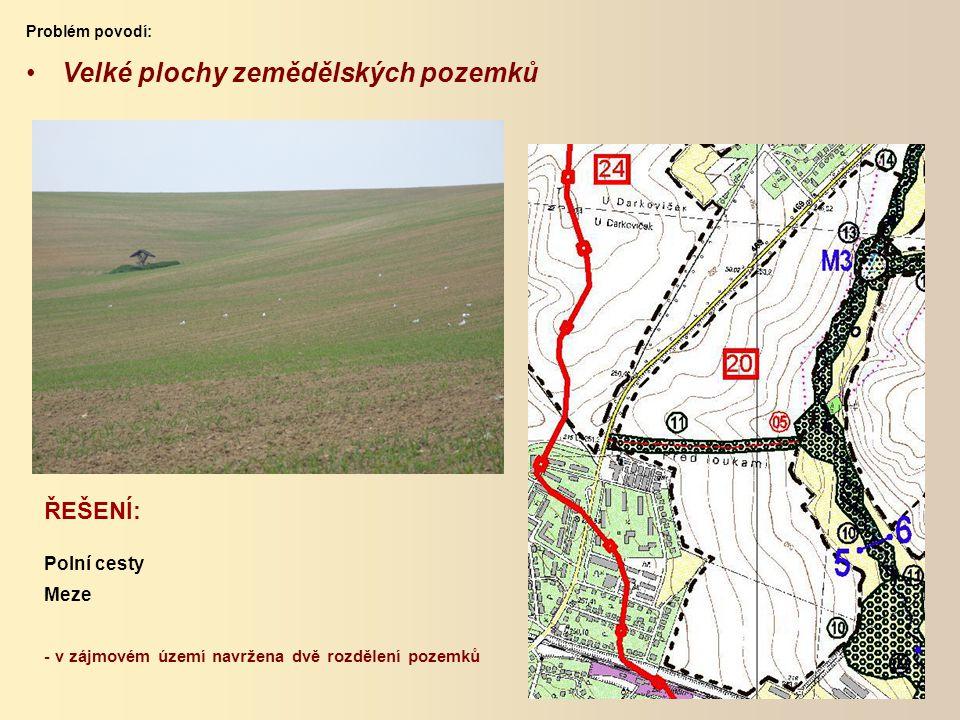 ŘEŠENÍ: Polní cesty Meze - v zájmovém území navržena dvě rozdělení pozemků Velké plochy zemědělských pozemků Problém povodí:
