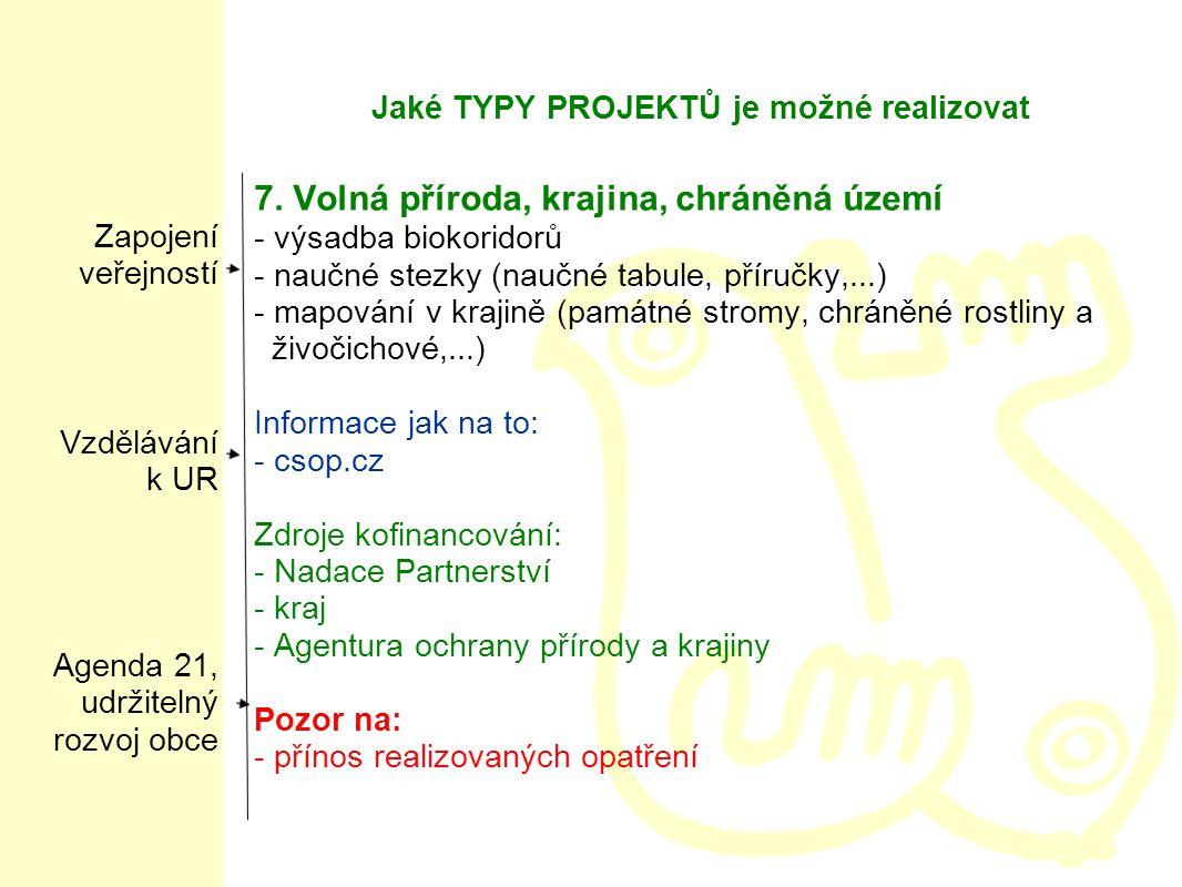Jaké TYPY PROJEKTŮ je možné realizovat 7.