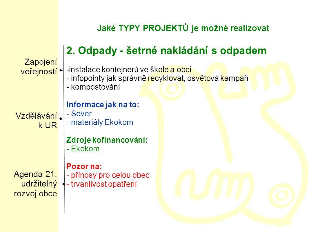Jaké TYPY PROJEKTŮ je možné realizovat 2.