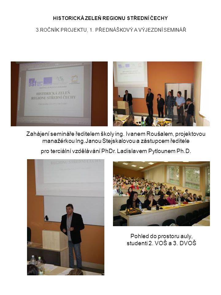 Zahájení semináře ředitelem školy ing. Ivanem Roušalem, projektovou manažérkou Ing.Janou Stejskalovou a zástupcem ředitele pro terciální vzdělávání Ph