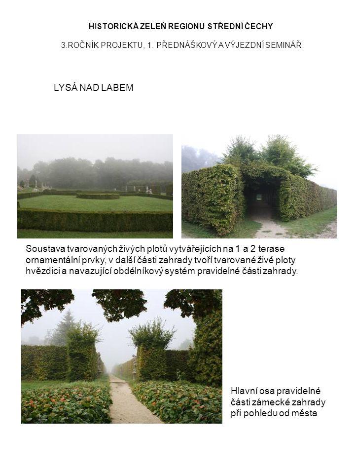 HISTORICKÁ ZELEŇ REGIONU STŘEDNÍ ČECHY 3.ROČNÍK PROJEKTU, 1. PŘEDNÁŠKOVÝ A VÝJEZDNÍ SEMINÁŘ LYSÁ NAD LABEM Hlavní osa pravidelné části zámecké zahrady