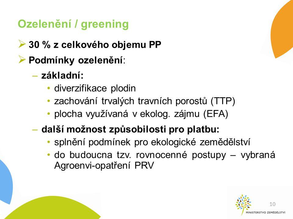 Ozelenění / greening  30 % z celkového objemu PP  Podmínky ozelenění: –základní: diverzifikace plodin zachování trvalých travních porostů (TTP) ploc