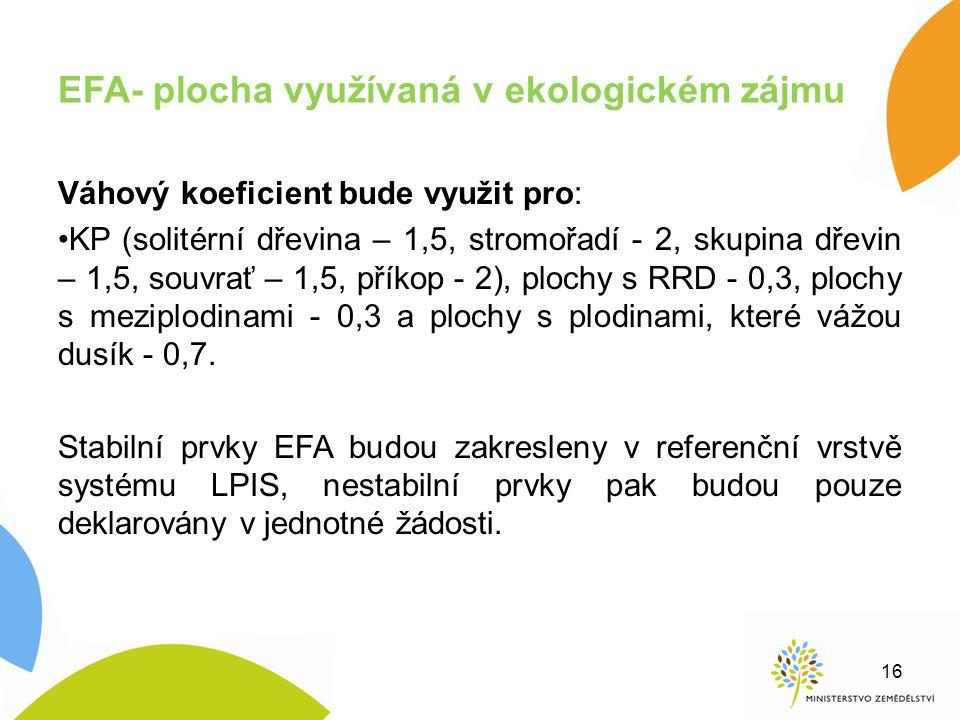 EFA- plocha využívaná v ekologickém zájmu Váhový koeficient bude využit pro: KP (solitérní dřevina – 1,5, stromořadí - 2, skupina dřevin – 1,5, souvra