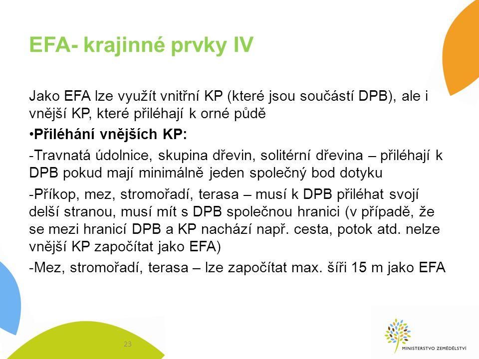 EFA- krajinné prvky IV Jako EFA lze využít vnitřní KP (které jsou součástí DPB), ale i vnější KP, které přiléhají k orné půdě Přiléhání vnějších KP: -