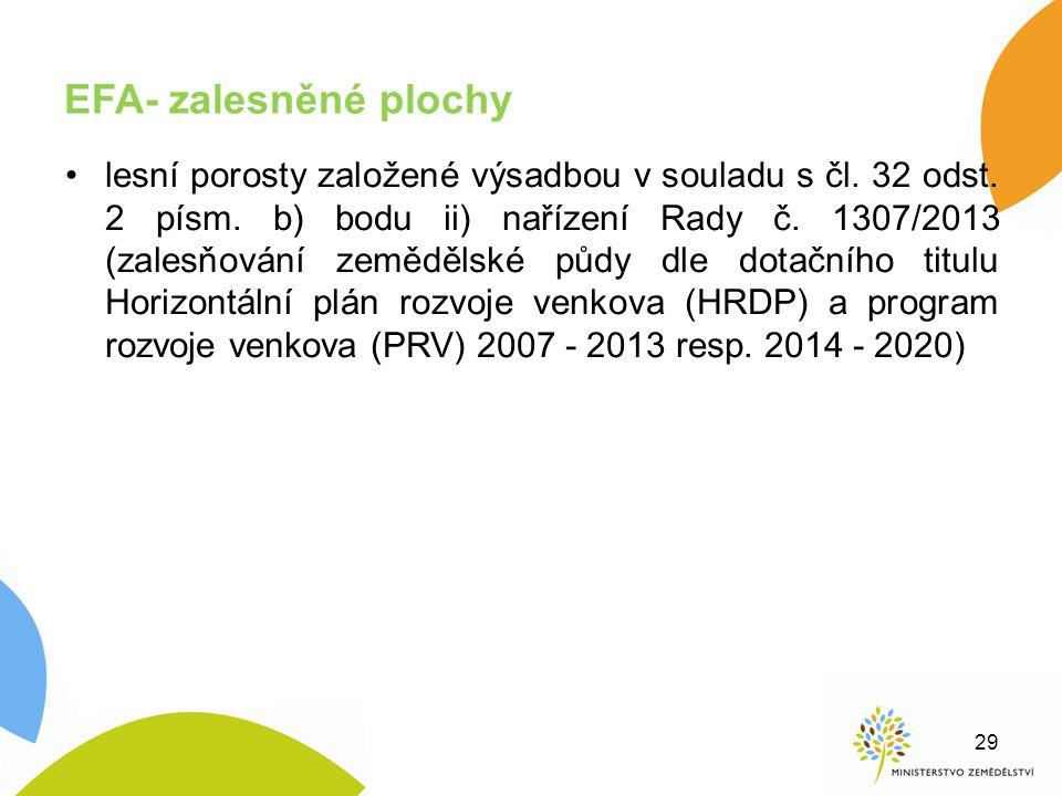 EFA- zalesněné plochy lesní porosty založené výsadbou v souladu s čl. 32 odst. 2 písm. b) bodu ii) nařízení Rady č. 1307/2013 (zalesňování zemědělské