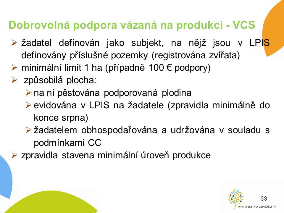  žadatel definován jako subjekt, na nějž jsou v LPIS definovány příslušné pozemky (registrována zvířata)  minimální limit 1 ha (případně 100 € podpo