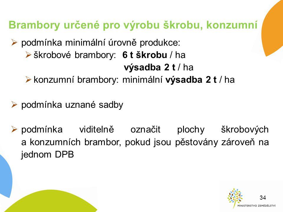  podmínka minimální úrovně produkce:  škrobové brambory: 6 t škrobu / ha výsadba 2 t / ha  konzumní brambory: minimální výsadba 2 t / ha  podmínka