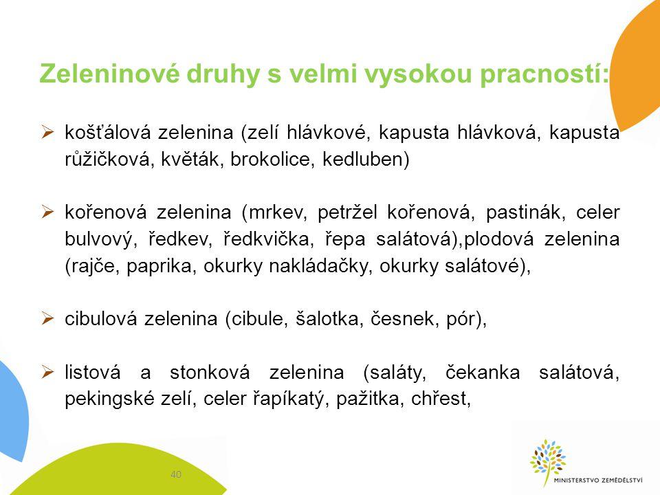 Zeleninové druhy s velmi vysokou pracností:  košťálová zelenina (zelí hlávkové, kapusta hlávková, kapusta růžičková, květák, brokolice, kedluben)  k